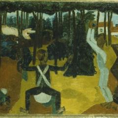 Charles Crodel (1894 - 1973), Szene im Wald (Kugelspiel?), 1922, Öl auf Leinwand © Nachlass Charles Crodel Foto: Stiftung Dome und Schlösser, Kunstmuseum Moritzburg Halle (Saale)