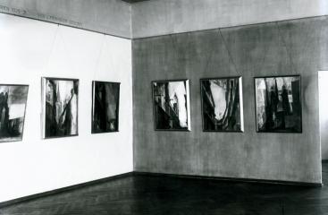 Alois Schardts Hängung der Halle-Bilder von Lyonel Feininger im Kunstmuseum Moritzburg Halle (Saale), 1932/33